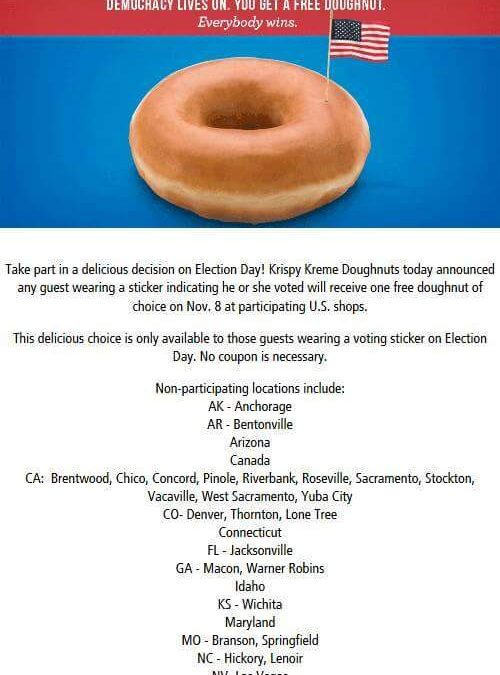 FREE Krispy Kreme  Donut  Election Day